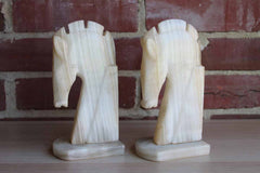 Carved Light Alabaster Horsehead Bookends, A Pair