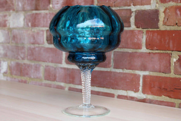 Tall Pedestal Art Glass Blue Bowl with Twisted Clear Stem