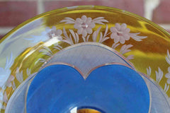Etched Amber Glass with Painted Blue and White Floral Detail