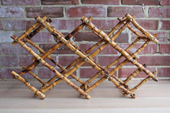 Collapsable Bamboo Wine Bottle Rack with Matching Display Easel