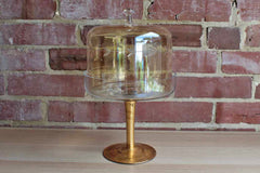 Tall Glass Pedestal Dessert Stand with Etched Band of Leaves
