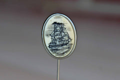 Silver Hat Pin with Scrimshaw Carving of a Sailing Ship