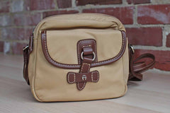 Etienne Aigner (New York, USA) Leather and Tan Nylon Small Crossbody Satchel