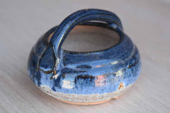 Small Handled Stoneware Bowl with Blue and White Glazes