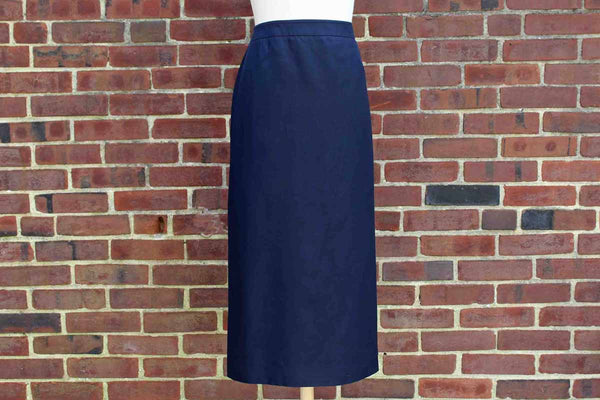 Talbots Navy Blue Silk/Wool Blend Lined Skirt