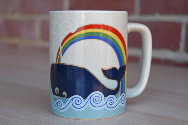 Otagiri (Japan) Ceramic Mug with Whale and Rainbow