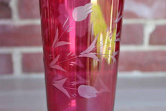 Ruby Flash Glass Pedestal Vase with Clear Etched Flowers