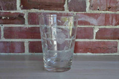 Tall Clear Glass Container with Etched Flowers