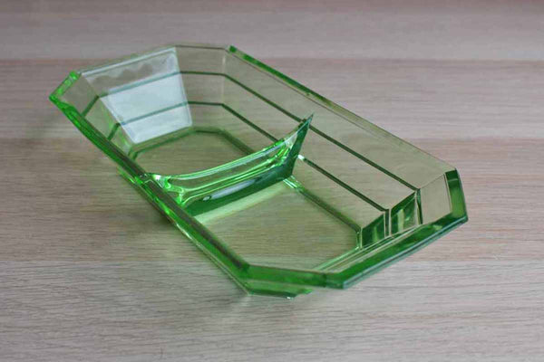 Green Vaseline Glass Divided Dish