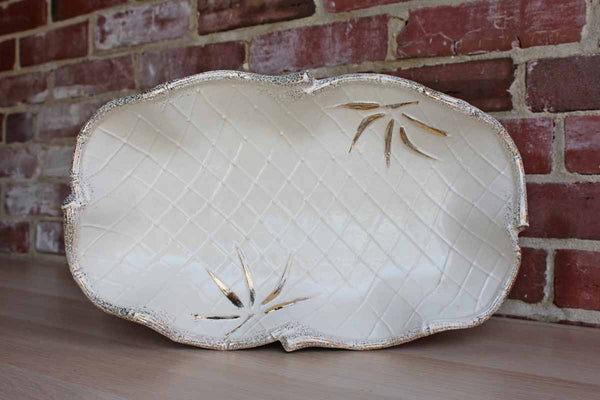 California Pottery (California, USA) Ivory Ceramic Tray with Wavy Rim and Gold Accented Palm Frongs