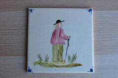 Quimper Style Ceramic Tile Decorated with Man Holding a Walking Stick, Made in England