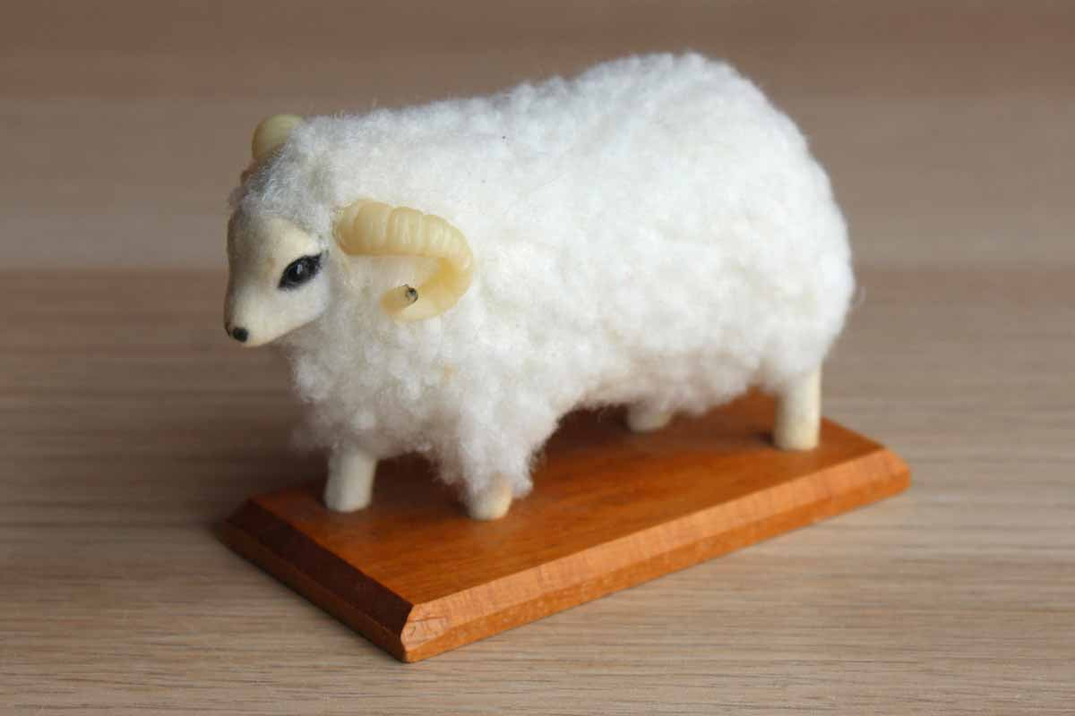 Small Wool Sheep Figurine from New Zealand