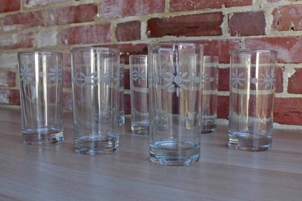 Tall Clear Glasses with Etched Flowers, 7 Pieces