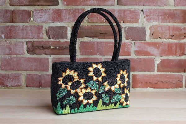 Handbag Decorated with Seed Bead and Sequin Sunflowers and Grass