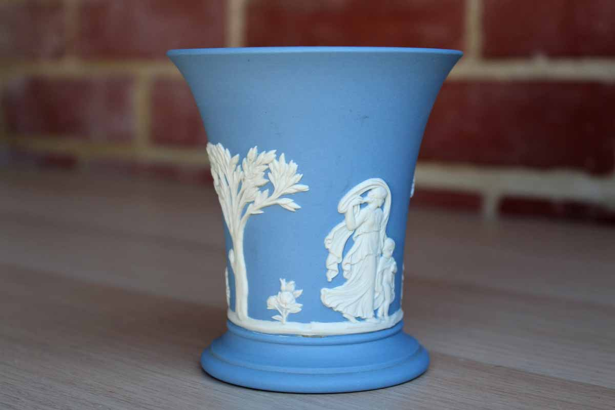 "Wedgwood (England) Blue Jasperware ""Mother Nature"" Bud Vase"