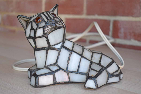 Stainled Glass Sitting Cat Accent or Night Light