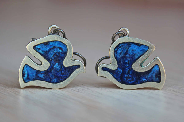 Blue Stone and Silver Bird Pierced Earrings