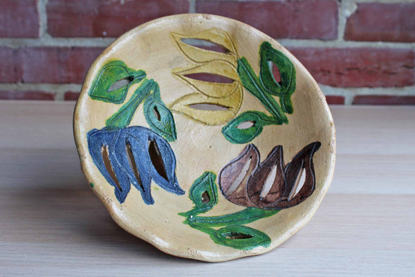 Handmade Ceramic Pedestal Bowl with Incised and Cut Out Colorful Flowers