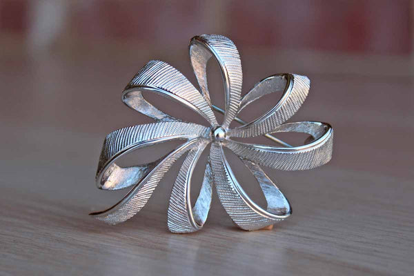 Monet (New York, USA) Silver Tone Metal Grosgrain Ribbon Brooch