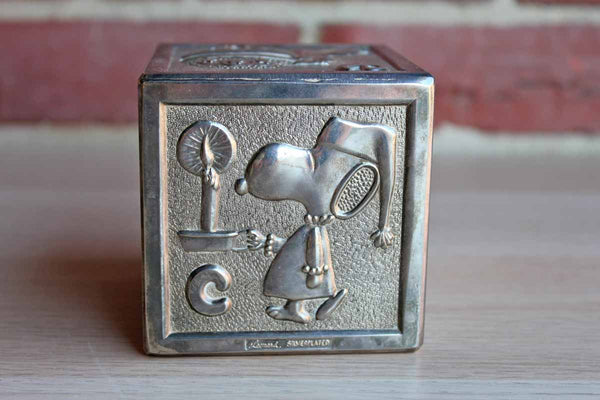 Leonard Brand Silver Plated Snoopy Block Coin Bank