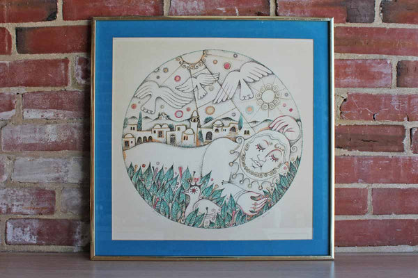 Limited Edition Signed Print of a Peaceful Person, Birds, Flowers, and Town