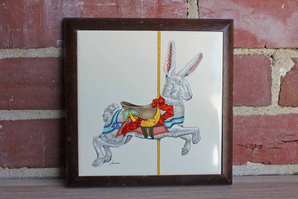 Vandor (1985, Taiwan) Lowell Herrero Hand Painted Tile of Carousel Rabbit