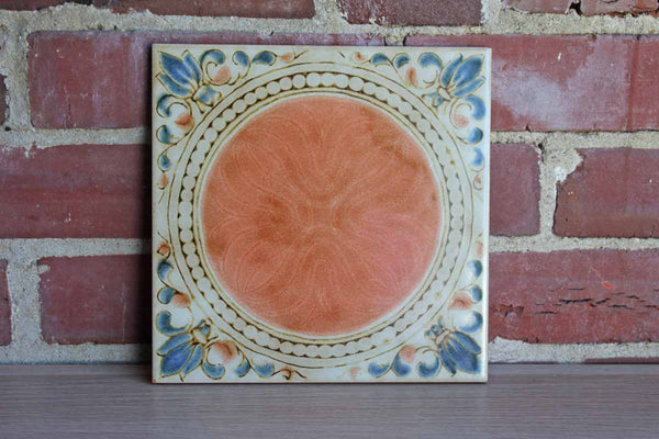 Sassuolo (Italy) Hand Painted Trivet with Floral Border