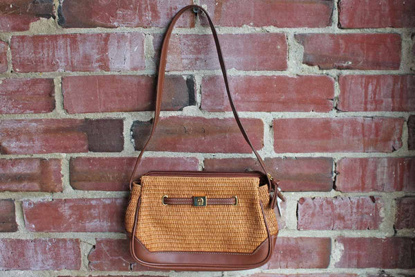 Etienne Aigner (New York, USA) Brown Leather and Woven Straw Shoulder Handbag