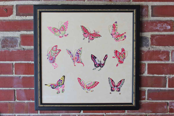 Full-Color Professionally Framed Giclee Print of Ten Colorful Butterflies