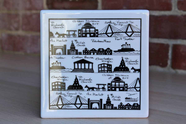 DSC Designs Cityscape Collection Ceramic Tile of Charleston, South Carolina Landmarks
