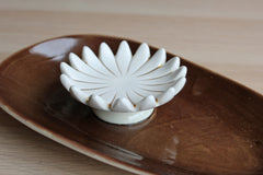 Napco (Ohio, USA) 1961 Brown and White Flower Ashtray/Trinket Dish