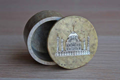 Soapstone Trinket Box with Mother of Pearl Stone Inlay of the Taj Majal