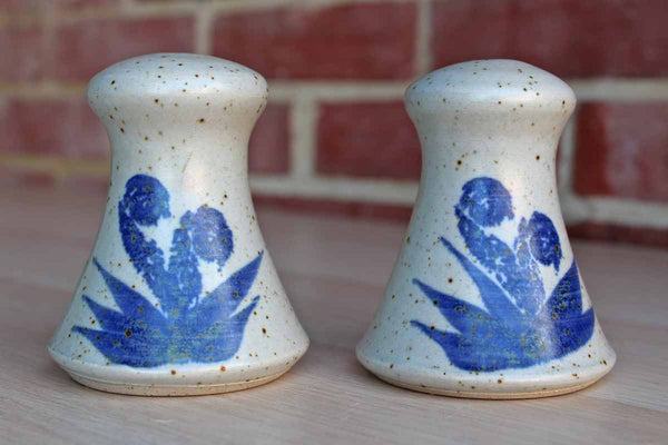 Handmade Stoneware Salt and Pepper Shakers with Blue Flowers