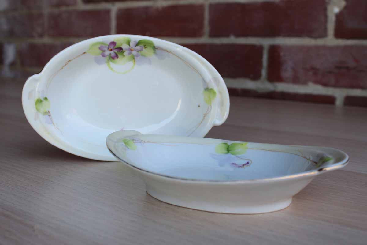 Nippon (Japan) Hand-Painted Matching Porcelain Bowls with Painted Flowers