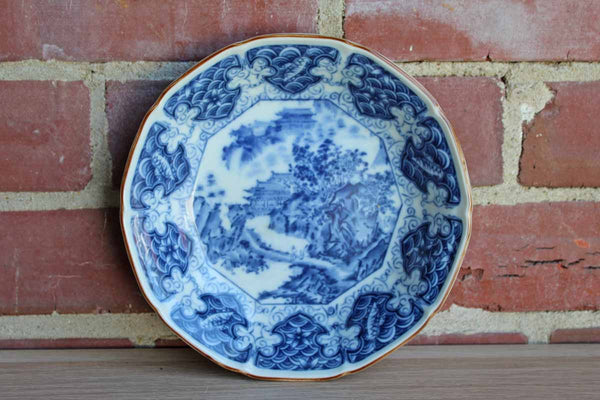 Blue and White Japanese Transferware Ceramic Bowl with Mountain House Scene