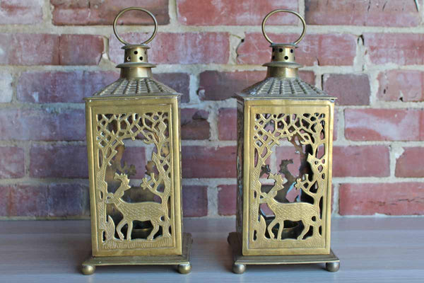 Decorative Crafts, Inc. (India) Large Brass Candle Lanterns with Deer Amidst Trees Design