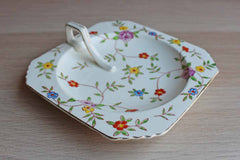 Takito Company (Japan) Square Ceramic Dish with Colorful Flowers and Handle