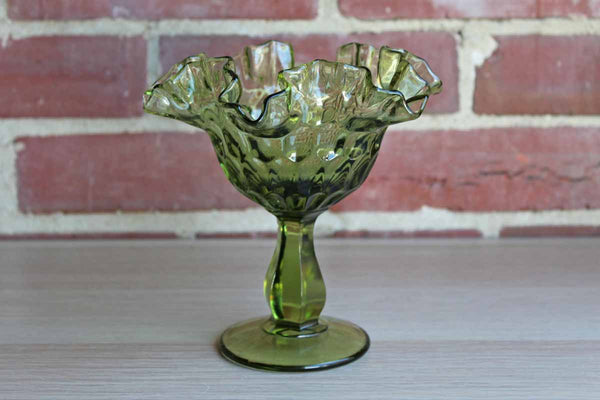 Fenton Art Glass (West Virginia, USA) Colonial Green Thumbprint Round Compote with Ruffled Edges
