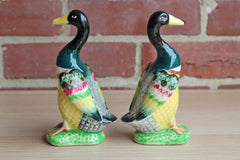 Hand Painted Vibrantly Colored Duck Figurines, Made in Japan, A Pair