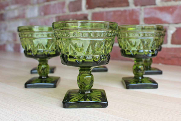 Colony Glass (Connecticut, USA) Park Lane Green Sherbert or Champagne Glasses, 6 Pieces
