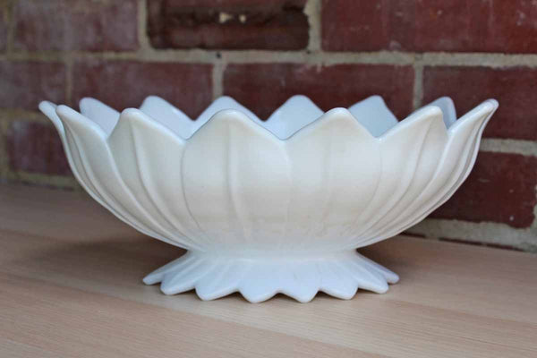 Westmoreland Glass Company (Pennsylvania, USA) Heavy Milk Glass Bowl Shaped Like a Blooming Flower