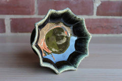 Hull Art Pottery (Ohio, USA) Green Drip Glaze Footed Candy Dish/Planter