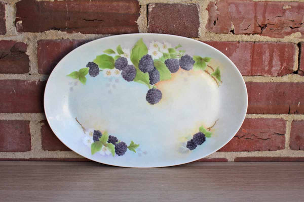 Hutschenreuther Selb (Bavaria, Germany) Hand Painted Oval Serving Platter with Berries and Flowers