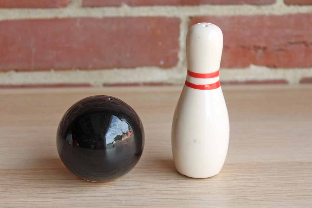 Bowling Pin and Bowling Ball Novelty Salt and Pepper Shaker Set