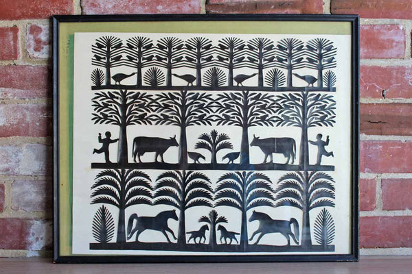 Handmade Framed Paper Cut of Trees, Birds, Horses, Cows, and Little Boy