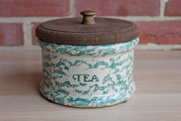 Green Spongeware Stoneware Tea Canister with Wood Lid