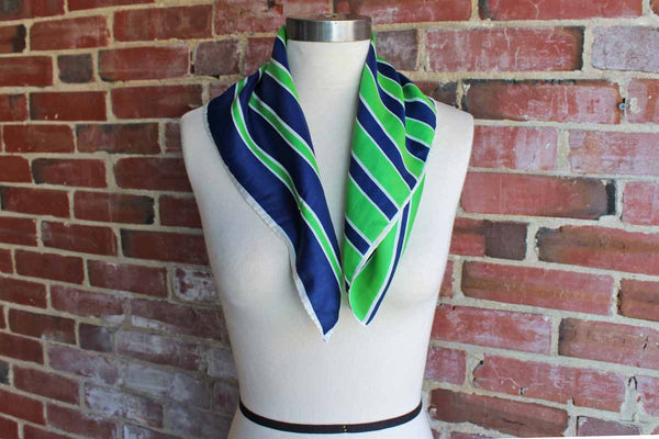Vera (New York, USA) Silk Blend Scarf Decorated with Preppy Blue and Green Stripes