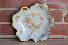 Limoges (France) Porcelain Leaf-Shaped Dish with Gilded Rim and Gold and Red Flowers