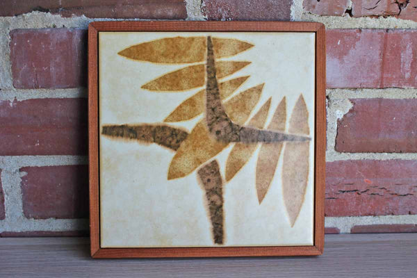 Ceramic Tile with Naturalistic Abstract Design Set in Wood Frame