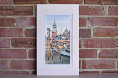 Original Watercolor of a Venice Canal with the Steeples of St. Mark's Campanile
